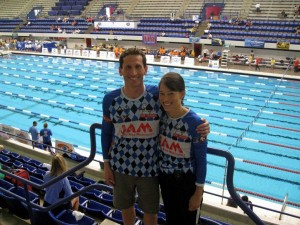 "Bill and Leigh on a ""date."" Participating at the 2008-2009 United States Masters Long Course Nationals in Indianapolis."