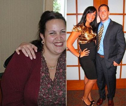 "(Left) Gina's ""ah-ha"" picture. The catalyst for her 100-pound weight loss. (Right) Almost at her ideal weight, Gina poses with fiance Reid."