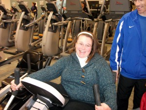 Vested in Meredith's well-being, Jim oversees her workouts beyond their training sessions.