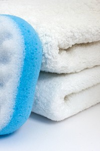 Indulge in soft, fluffy bath towels and sponges. Dry thoroughly.