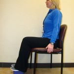 Keep knees aligned with hips for good sitting posture.