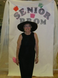 Barbara at the Center's Senior Prom, a fun celebration for senior members, complete with formal attire and festive music.