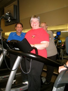 Rita beaming on treadmill, pic
