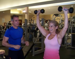 Personal Trainer Lou Manzi and Leslee during a recent training session.