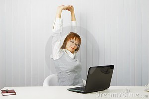 Keep fitness efforts going. Try gentle stretches and isometrics at your desk.
