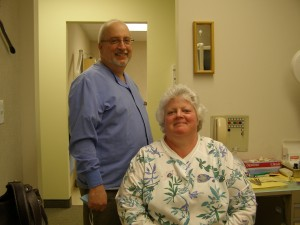 At check-ups, dentists typically team with hygienists who specialize in preventative oral health care. Dr. Reisner with Hygienist Pat Nicola.