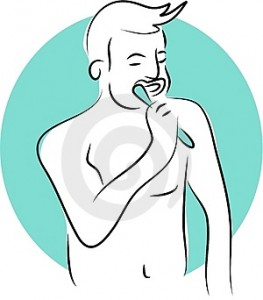 man brushing teeth, pic