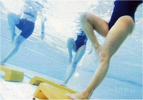 Increase intensity, not joint stress. Step aerobics in the water.