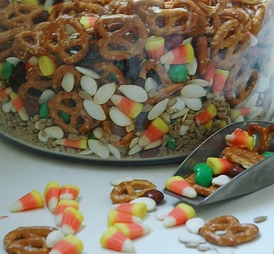 Mix in healthy munchies with the Halloween sweets.