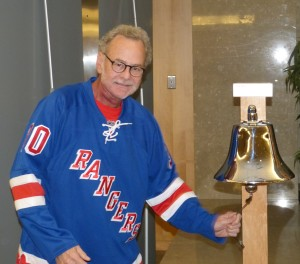 Bob rings the bell at the cancer treatment facility. It signals his final treatment.