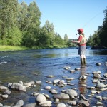 woman fly fishing, pic