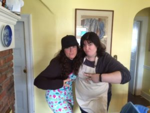 Kenna & Michele, chumming it up while baking.