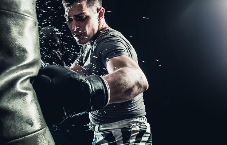 Boxing Man Male Punching Bag Jabs Sweat Gloves Intense Workout